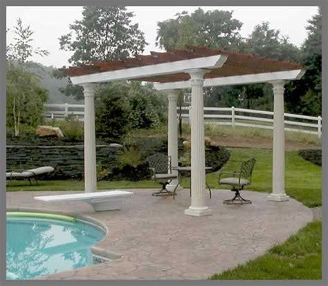 a pool pergola with fluted columns and decorative capitals