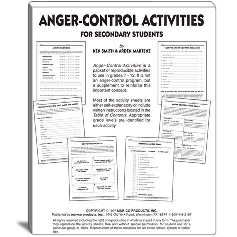 Anger Management Worksheets For Adults by Anger Activities For Grades 7 To 12