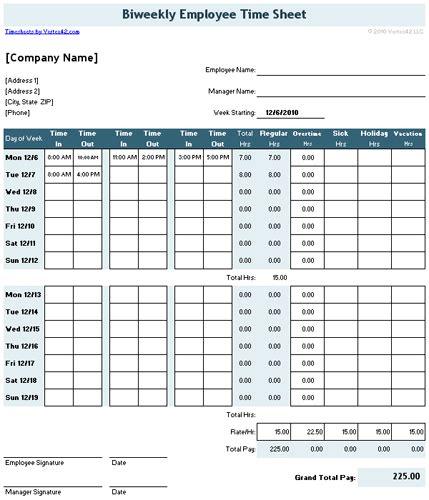 bi weekly timecard calculator with lunch break