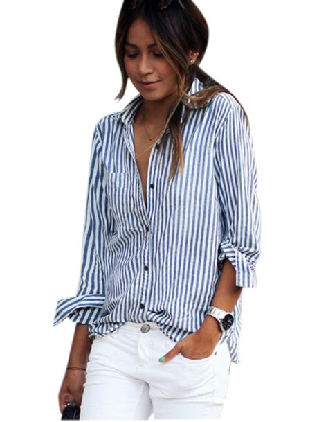 Blue Stripe S M L Blouse 44257 white and blue striped blouse fashion ql
