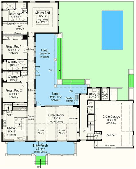 L Shaped Home Plans by Net Zero Ready House Plan With L Shaped Lanai 33161zr
