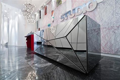 Mirrored Reception Desk mirror reception desk by eventscape reception desks