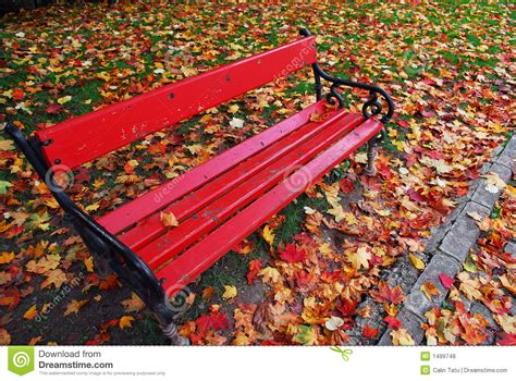 red bench red bench in the park royalty free stock photos image 1499748