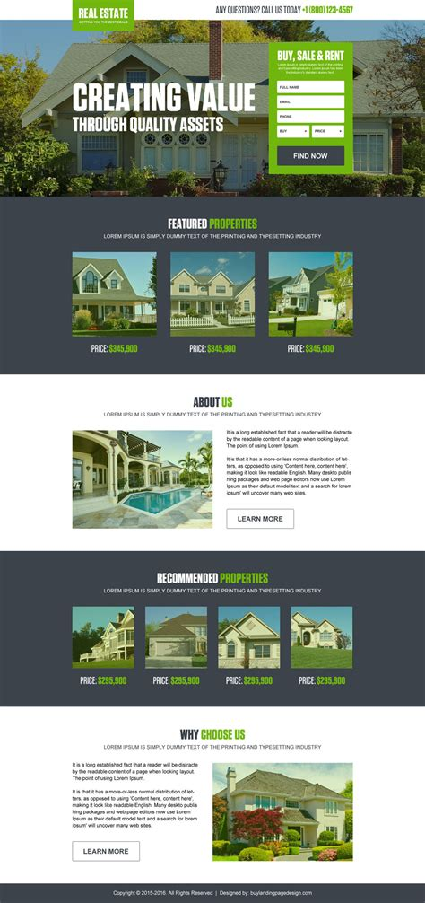 Landing Page Design Exle For Best Conversion And Sales Best Real Estate Landing Page Templates