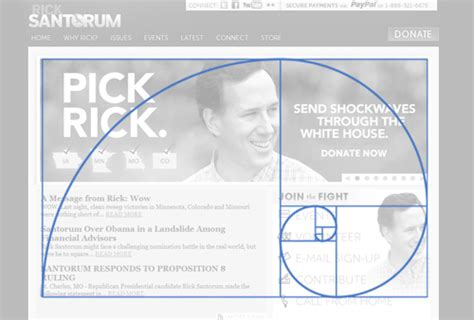 web layout golden ratio designing with instinct santorum s website and the golden