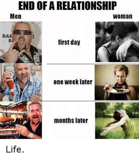 End Of Relationship Meme - end of a relationship men woman ba first day d one week