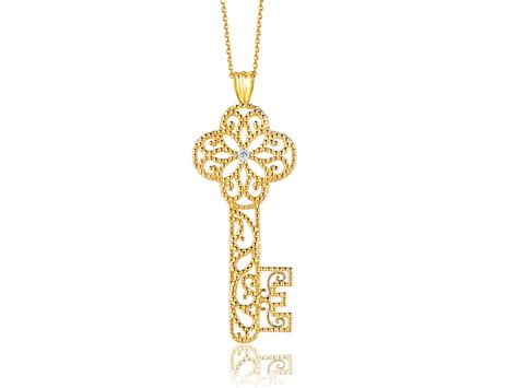 key pendant with in 14k yellow gold richard