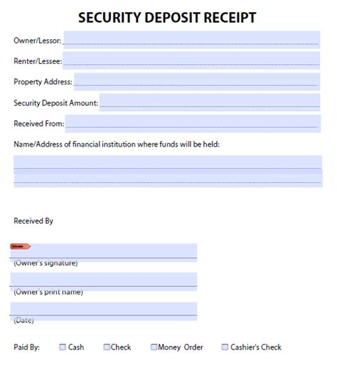 Security Deposit Receipt Template Uk by 50 Free Receipt Templates Sales Donation Taxi