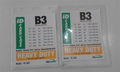 jual plastik name tag transparent ukuran b3 124 x 95 mm