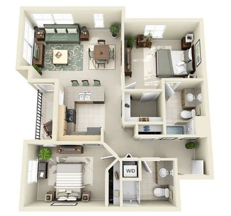 20 Awesome 3d Apartment Plans With Two Bedrooms Part 2 | 20 awesome 3d apartment plans with two bedrooms part 2