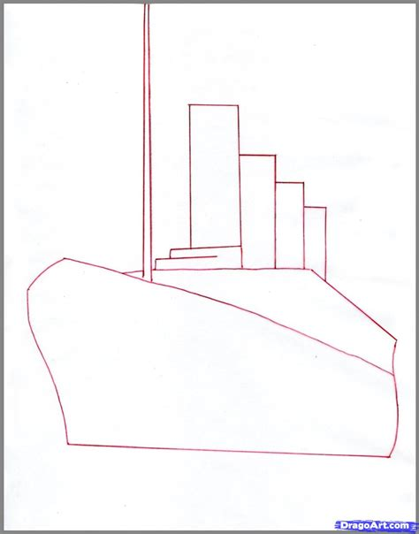 Step Outline by How To Draw The Titanic Titanic Step By Step Boats Transportation Free Drawing
