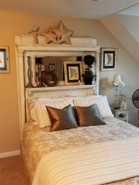 guest bed headboard  white antique fireplace mantel  dads birth home