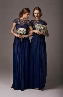 Above gt gt floor length blue bridesmaid dress with lace see more photos