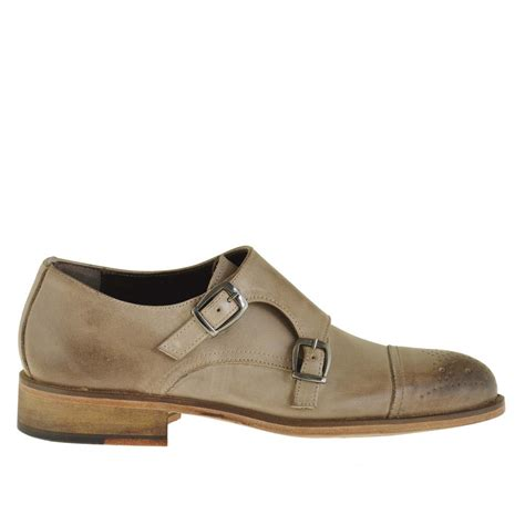 small shoes shoe with 2 buckles in earth tone leather