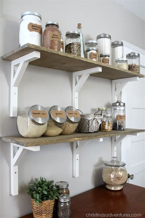 diy kitchen shelving ideas open shelving pantry christinas adventures