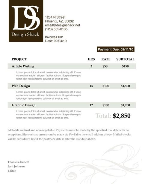 web designer invoice template 29 best images about graphic invoice design on