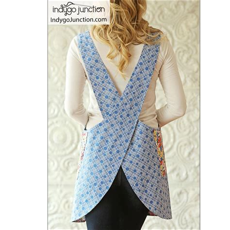 pattern cross back apron crossback reversible apron sewing pattern by indygo