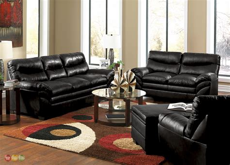 Black Leather Living Room Furniture by Casual Black Bonded Leather Sofa Set Living