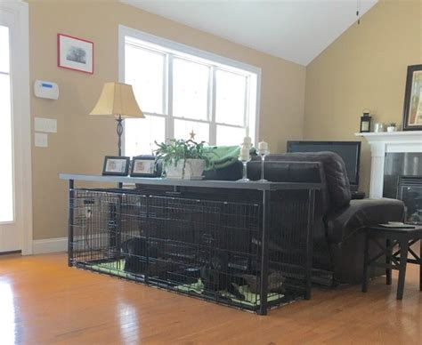 double dog crate console table ikea linnmon table