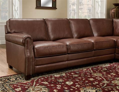 Traditional Brown Leather Sofa Cocoa Brown Top Grain Italian Leather Traditional Sectional Sofa
