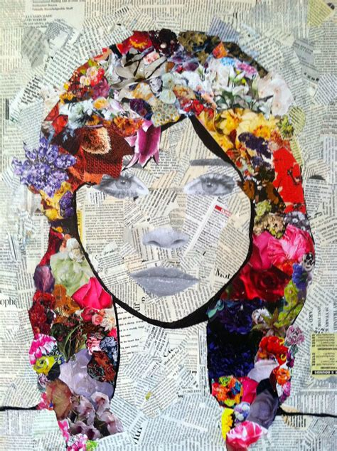 collage designs mixed media art torn newspaper bknd draw portrait on