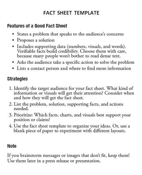 13 Sle Fact Sheet Templates Sle Templates Free Fact Sheet Template