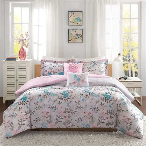 grey twin bedding new twin xl full queen bed gray grey pink teal floral