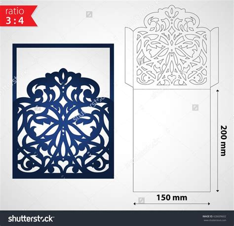 card dye cut templates luxury laser cut wedding invitation envelope template die