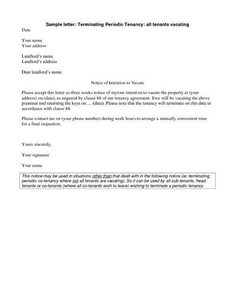 Section 25 Notice Template by Sle End Of Tenancy Letter From Landlord Uk Free