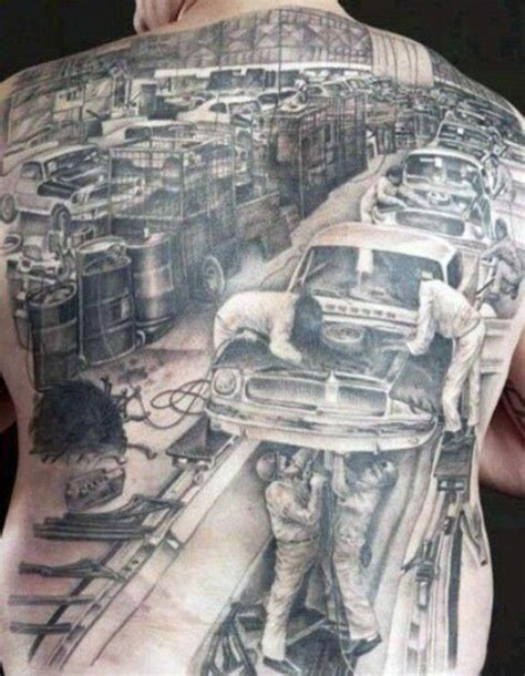 car guy tattoos picture of car repair shop on the whole back