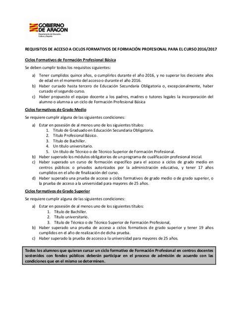 requisitos inscripcion de concubina 2016 requisitos de acceso a fp 2016 2017