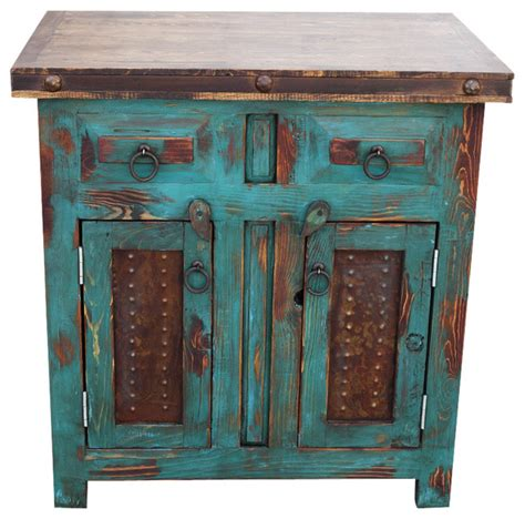 distressed wood vanity turquoise rustic bathroom