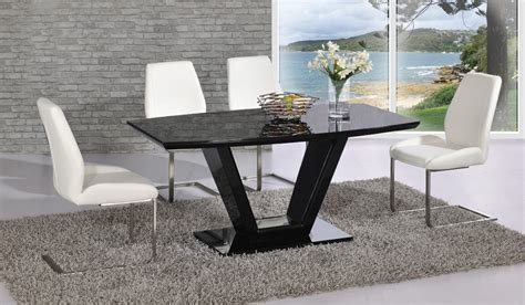 black glass high gloss dining table and 6 chair homegenies