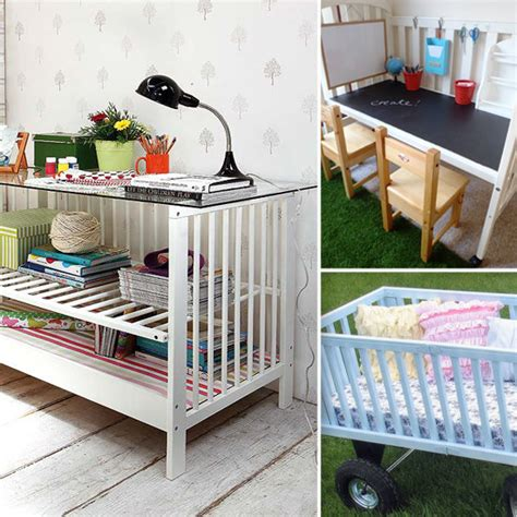 repurpose a crib into a bookshelf desk etc diy