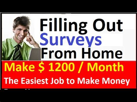 Fill Out Surveys For Money - easy money by filling out surveys 20 minutes day to make 1200 month youtube