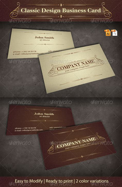 classic business card template free classic design business card graphicriver