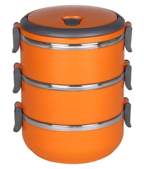 Lunch Box Three Layer scitek orange three layer lunch box buy at best price in india snapdeal