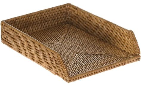 Rattan Desk Accessories Shop Houzz Kouboo La Jolla Handwoven Rattan Stackable Letter Tray Honey Brown Desk Accessories
