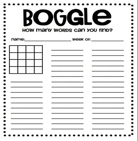 boggle printable template the world s catalog of ideas