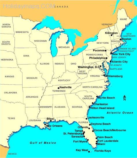 map usa east coast 2 map of eastern us map travel holidaymapq