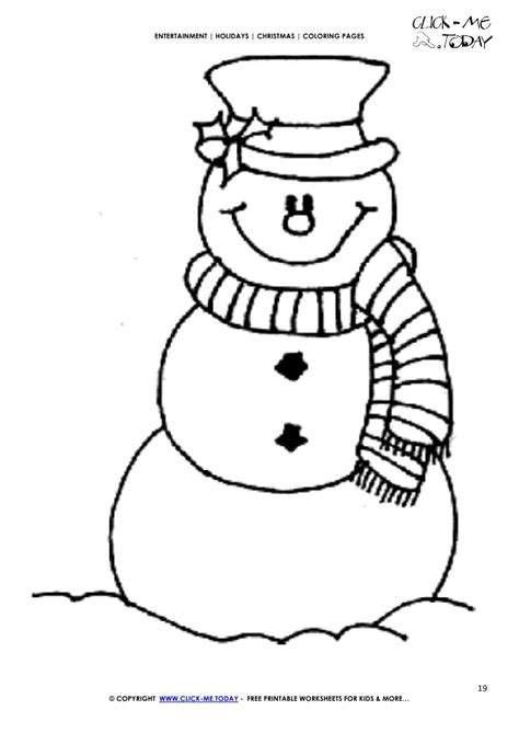 free snowman scarf coloring page christmas snowman 19