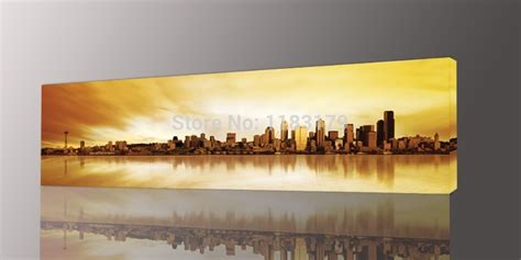 long yellow city painting canvas wall art picture print