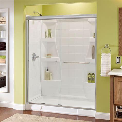 Semi Framed Shower Door Delta Simplicity 60 In X 70 In Semi Framed Sliding Shower Door In White With Niebla Glass And