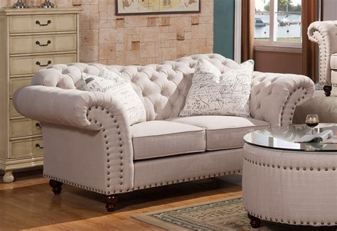 Tufted Beige Sofa by Walton Classic Sweetheart Button Tufted Sofa Loveseat