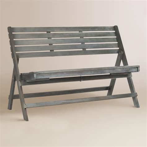 folding wood bench ash gray wood outdoor folding bench world market