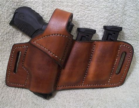 Handmade Leather Holsters - leather owb belt holster 2 mags jackson leatherwork llc