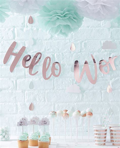 baby shower hello hello world metallic pastel baby shower ideas