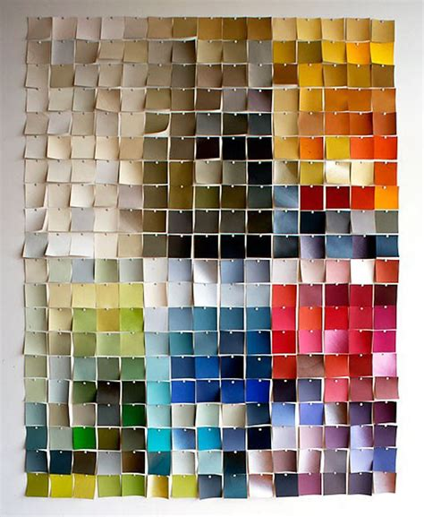 use paint chips to create wall apartment therapy