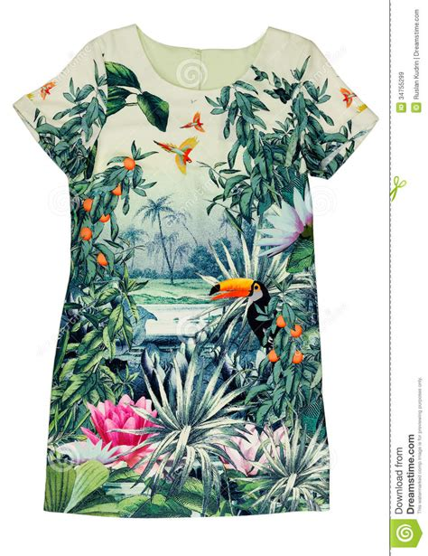 Asos10524 Floral Bird Tropical Blue White S M Import Chiffon Dress dress with a tropical print stock image image 34755299
