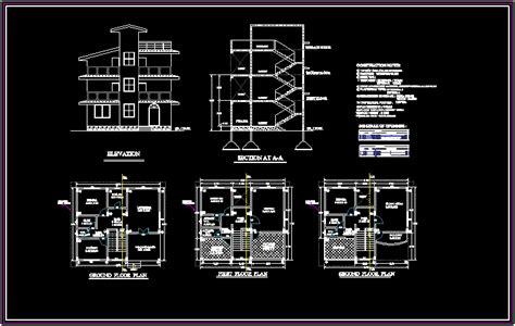 bungalows  dxf design section  autocad designs cad